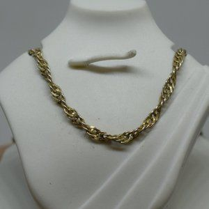 18K Gold Plated Sterling Silver Rope Link Necklace